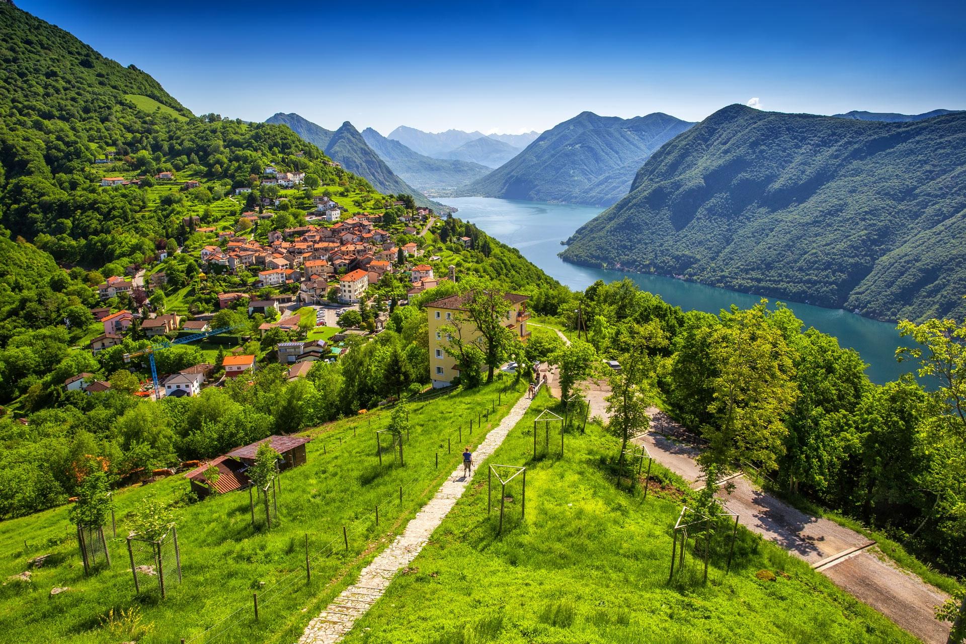 سويسرا لوغانو اجمل الاماكن السياحيه بحيرة لوغانو