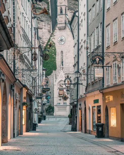 النمسا سالزبورغ افضل اماكن التسوق والمطاعم شارع غيترايد غاسة