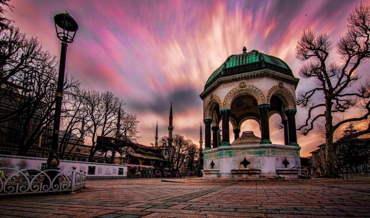 تركيا اسطنبول اهم الاماكن السياحية النافورة الالمانيه